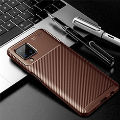Coque Silicone Housse Etui Gel Serge pour Samsung Galaxy A12 Marron
