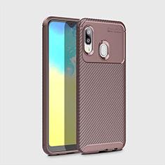 Coque Silicone Housse Etui Gel Serge pour Samsung Galaxy A20e Marron