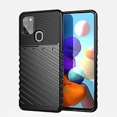 Coque Silicone Housse Etui Gel Serge pour Samsung Galaxy A21s Noir