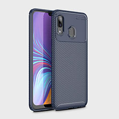 Coque Silicone Housse Etui Gel Serge pour Samsung Galaxy A30 Bleu