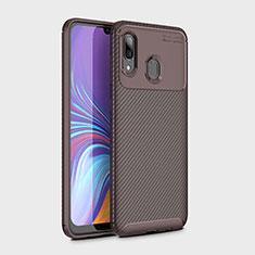 Coque Silicone Housse Etui Gel Serge pour Samsung Galaxy A30 Marron