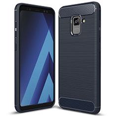 Coque Silicone Housse Etui Gel Serge pour Samsung Galaxy A5 (2018) A530F Bleu