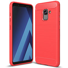 Coque Silicone Housse Etui Gel Serge pour Samsung Galaxy A5 (2018) A530F Rouge