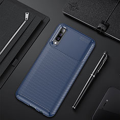 Coque Silicone Housse Etui Gel Serge pour Samsung Galaxy A50 Bleu