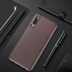 Coque Silicone Housse Etui Gel Serge pour Samsung Galaxy A50 Marron