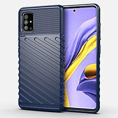 Coque Silicone Housse Etui Gel Serge pour Samsung Galaxy A51 4G Bleu