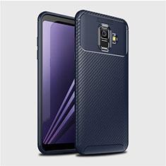 Coque Silicone Housse Etui Gel Serge pour Samsung Galaxy A6 (2018) Dual SIM Bleu