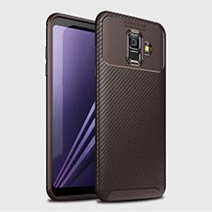 Coque Silicone Housse Etui Gel Serge pour Samsung Galaxy A6 (2018) Dual SIM Marron