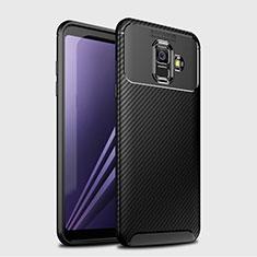 Coque Silicone Housse Etui Gel Serge pour Samsung Galaxy A6 (2018) Dual SIM Noir