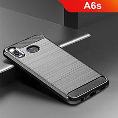 Coque Silicone Housse Etui Gel Serge pour Samsung Galaxy A6s Noir