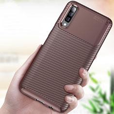 Coque Silicone Housse Etui Gel Serge pour Samsung Galaxy A70 Marron