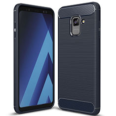Coque Silicone Housse Etui Gel Serge pour Samsung Galaxy A8+ A8 Plus (2018) Duos A730F Bleu