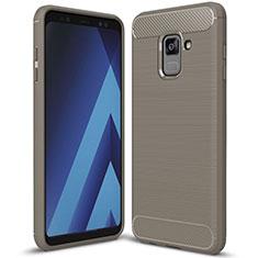 Coque Silicone Housse Etui Gel Serge pour Samsung Galaxy A8+ A8 Plus (2018) Duos A730F Gris