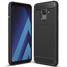 Coque Silicone Housse Etui Gel Serge pour Samsung Galaxy A8+ A8 Plus (2018) Duos A730F Noir
