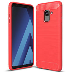 Coque Silicone Housse Etui Gel Serge pour Samsung Galaxy A8+ A8 Plus (2018) Duos A730F Rouge