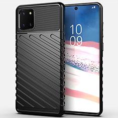 Coque Silicone Housse Etui Gel Serge pour Samsung Galaxy A81 Noir