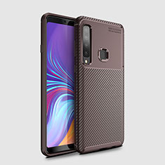 Coque Silicone Housse Etui Gel Serge pour Samsung Galaxy A9s Marron