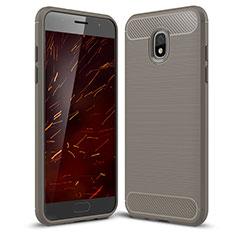 Coque Silicone Housse Etui Gel Serge pour Samsung Galaxy J3 (2018) SM-J377A Gris