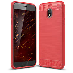 Coque Silicone Housse Etui Gel Serge pour Samsung Galaxy J3 Star Rouge