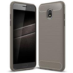 Coque Silicone Housse Etui Gel Serge pour Samsung Galaxy J7 (2018) J737 Gris