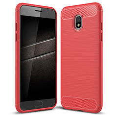 Coque Silicone Housse Etui Gel Serge pour Samsung Galaxy J7 (2018) J737 Rouge