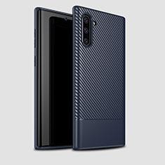 Coque Silicone Housse Etui Gel Serge pour Samsung Galaxy Note 10 Bleu
