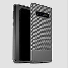 Coque Silicone Housse Etui Gel Serge pour Samsung Galaxy S10 Plus Gris