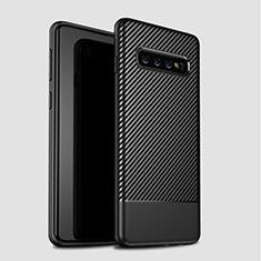 Coque Silicone Housse Etui Gel Serge pour Samsung Galaxy S10 Plus Noir