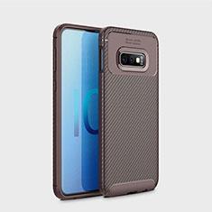 Coque Silicone Housse Etui Gel Serge pour Samsung Galaxy S10e Marron