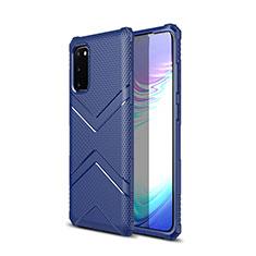 Coque Silicone Housse Etui Gel Serge pour Samsung Galaxy S20 5G Bleu
