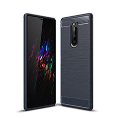 Coque Silicone Housse Etui Gel Serge pour Sony Xperia 1 Bleu