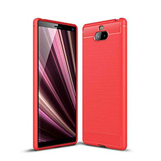 Coque Silicone Housse Etui Gel Serge pour Sony Xperia 10 Rouge