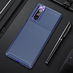 Coque Silicone Housse Etui Gel Serge pour Sony Xperia 5 Bleu