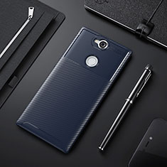 Coque Silicone Housse Etui Gel Serge pour Sony Xperia XA2 Bleu