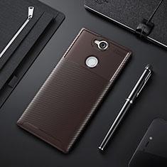 Coque Silicone Housse Etui Gel Serge pour Sony Xperia XA2 Plus Marron