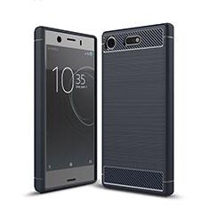 Coque Silicone Housse Etui Gel Serge pour Sony Xperia XZ1 Compact Bleu