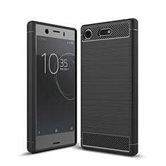 Coque Silicone Housse Etui Gel Serge pour Sony Xperia XZ1 Compact Noir