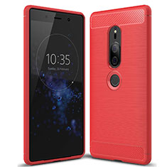 Coque Silicone Housse Etui Gel Serge pour Sony Xperia XZ2 Premium Rouge