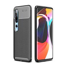 Coque Silicone Housse Etui Gel Serge pour Xiaomi Mi 10 Noir
