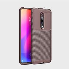 Coque Silicone Housse Etui Gel Serge pour Xiaomi Mi 9T Pro Marron