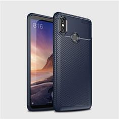 Coque Silicone Housse Etui Gel Serge pour Xiaomi Mi Max 3 Bleu