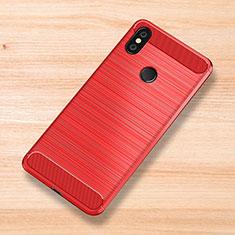 Coque Silicone Housse Etui Gel Serge pour Xiaomi Mi Mix 3 Rouge