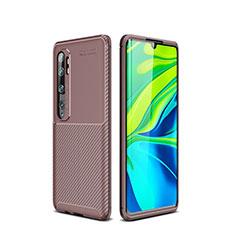 Coque Silicone Housse Etui Gel Serge pour Xiaomi Mi Note 10 Pro Marron