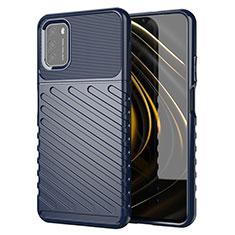 Coque Silicone Housse Etui Gel Serge pour Xiaomi Poco M3 Bleu