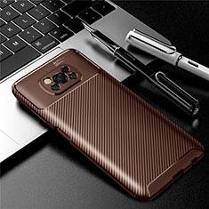 Coque Silicone Housse Etui Gel Serge pour Xiaomi Poco X3 NFC Marron