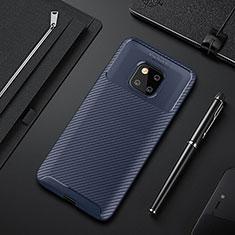 Coque Silicone Housse Etui Gel Serge S01 pour Huawei Mate 20 Pro Bleu