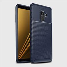 Coque Silicone Housse Etui Gel Serge S01 pour Samsung Galaxy A8+ A8 Plus (2018) Duos A730F Bleu