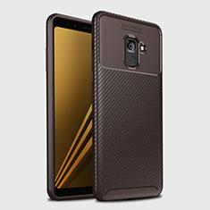 Coque Silicone Housse Etui Gel Serge S01 pour Samsung Galaxy A8+ A8 Plus (2018) Duos A730F Marron