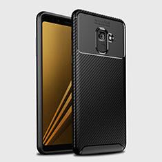 Coque Silicone Housse Etui Gel Serge S01 pour Samsung Galaxy A8+ A8 Plus (2018) Duos A730F Noir