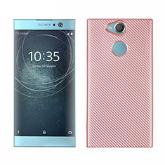 Coque Silicone Housse Etui Gel Serge S01 pour Sony Xperia XA2 Or Rose